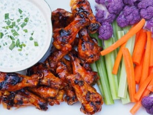 Smoked Honey Buffalo Chicken Wings with Blue Cheese Dressing