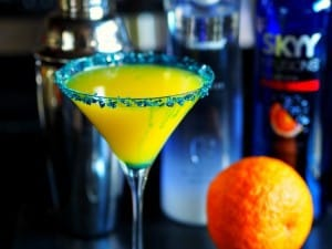 Festive martini to enjoy while watching the game! Go BRONCO's!
