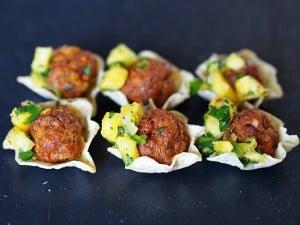 Chorizo Meatballs with Pineapple Salsa