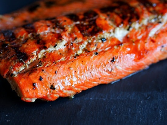 Grilled Honey Mustard Copper River Salmon. This is the good salmon, the only salmon that I will eat! Yum!