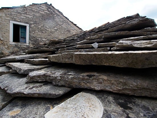 One reason why buildings last so long in Croatia, they build the whole dang thing with stone- even the roofs!
