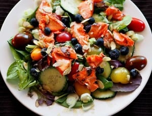 Grilled Honey Mustard Copper River Salmon Salad