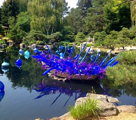 In the Japanese Garden's pond. I love all the floating glass.