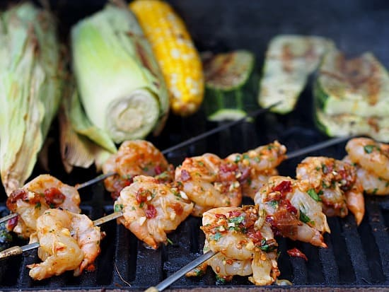 Shrimp on the grill, ready for Taco Tuesday.