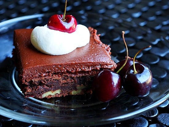 Brandy soaked cherries are a great addition to the adult only brownies!