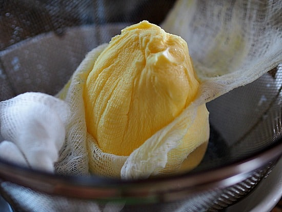 After all the butter milk is drained off, you end up with this beautiful butter ball!