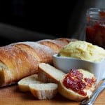 Nothing better than a good loaf of crusty bread, homemade butter and homemade strawberry jam!