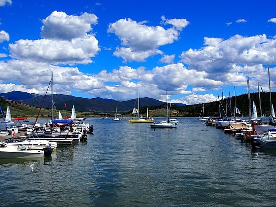 """Lake Dillon has the """"highest"""" yacht club in the world. We got to see the end of the Dillon Open. Someone yelled """"cocktails"""" and all the boats started coming in!"""