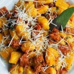 Is this serious Fall food or what? Butternut squash gnocchi with sausage and sage butter. It's like a little Italian heaven on a plate!