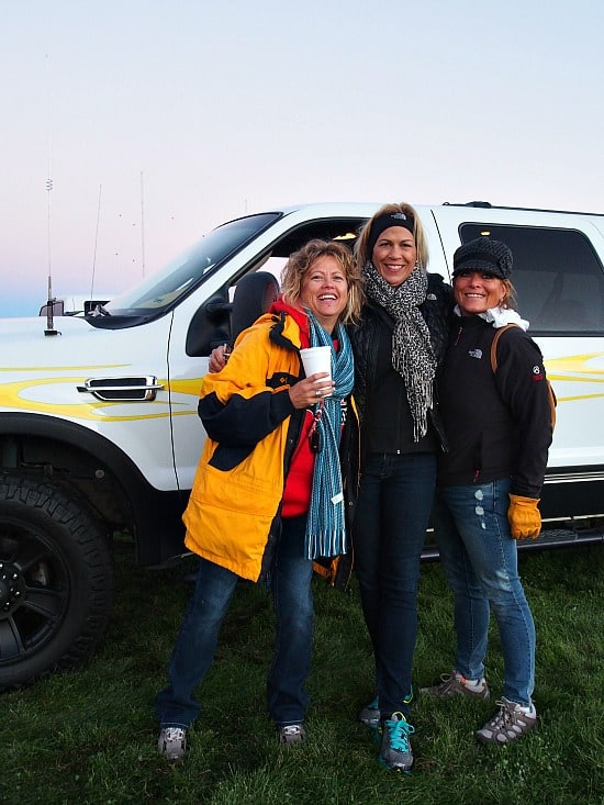 """Moo"", Jenny and me getting ready to fly and standing next to Johnny's really pimped out truck! LOL!"