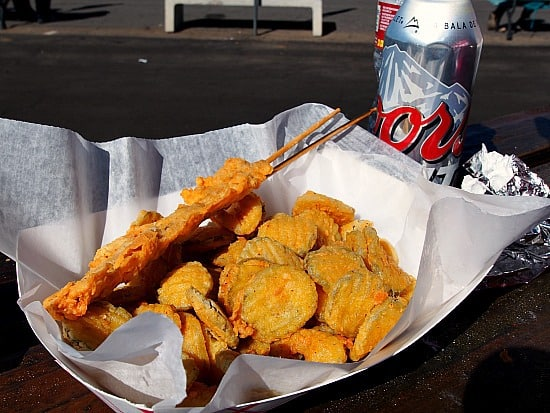 "Seriously you know you are are at a festival when you can get fried pickles and alligator on a stick. For us ""non-fried"" food gals, we just tasted (yum) and threw out the rest. Self control can be a very good thing.... sometimes..."