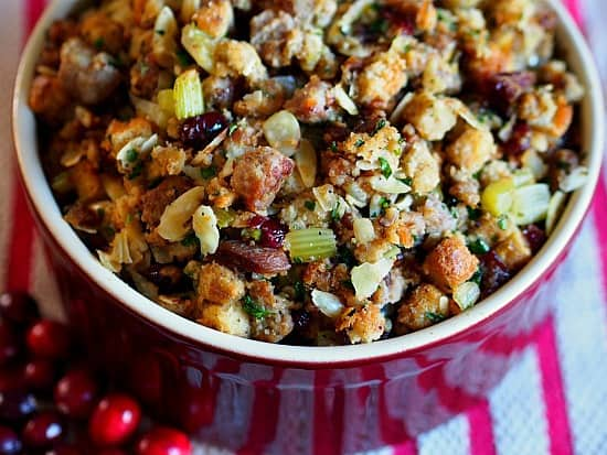 Amazing sausage stuffing with dried fruit, almonds and yes my friends Grand Marnier!
