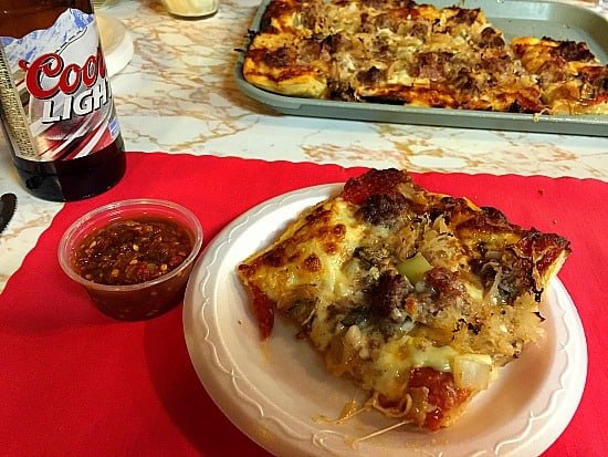 "This is what the Rocket Inn is famous for. Pizza with sauerkraut. I had ""rocket"" belly at 2 AM. So worth it though."