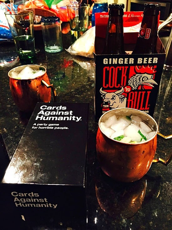 A holiday party is not complete without Cards Against Humanity and Moscow Mules. It's just ugly. That's all I will say.... Way too many incriminating things were divulged.... If you haven't played this game. You are missing out. It's a card game for horrible people. That's all...