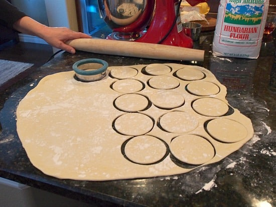 All rolled out and cut up. Let the Pierogi party begin!