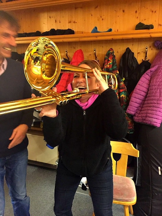 St Anton has a population of 2600 people and two orchestras. They teach all the children how to play an instrument. We went to an event where they were teaching the kindergartners about how different instruments sound. I got a lesson in trombone-ne.. LOL! So fun!
