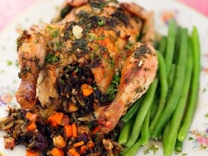 Herb Rubbed Cornish Game Hens With Wild Rice Stuffing