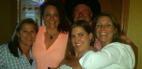 Me and tennis ladies and the photo bomb from a local rancher. I don't think they are used to four pretty ladies hanging out in Sedalia!