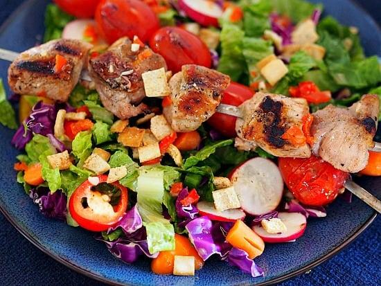 Grilled pork with pepper vinaigrette