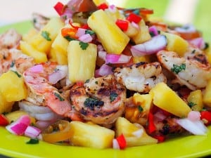 Spicy Pickled Pineapple with Shrimp
