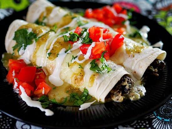 Portobello Mushroom and Chicken Enchiladas