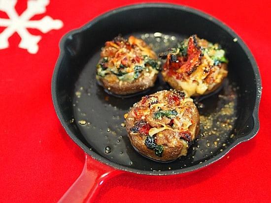 Sundried Tomato & Sausage Stuffed Mushrooms