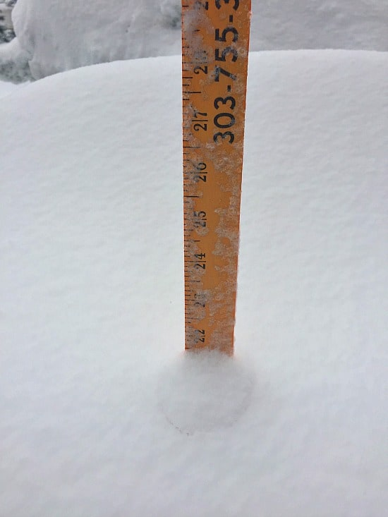 22 inches! I'd say that's a lot of snow considering it was in the 70's all week and that it was raining at 6 AM. This picture was taken at 2ish....