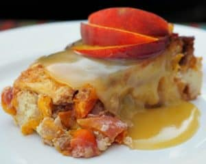 Fireball Whiskey Peach Bread Pudding