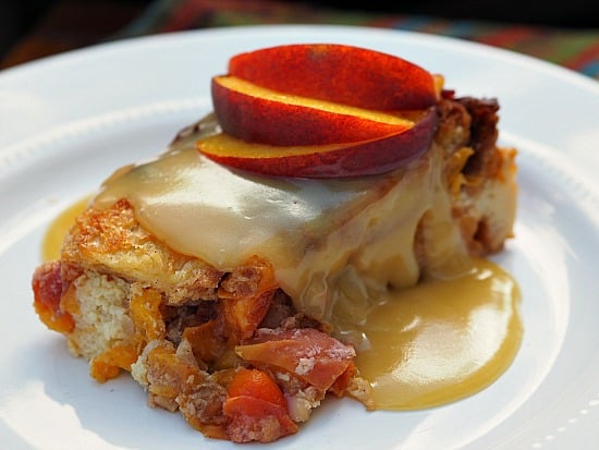 Peach Bread Pudding and Fireball Whiskey Sauce