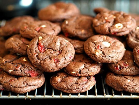 Tipsy Double Chocolate Cherry Cookies
