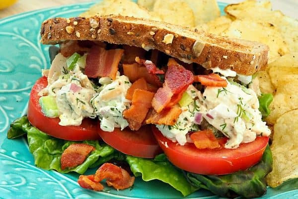 Lemony Dill Chicken Salad Club Sandwiches