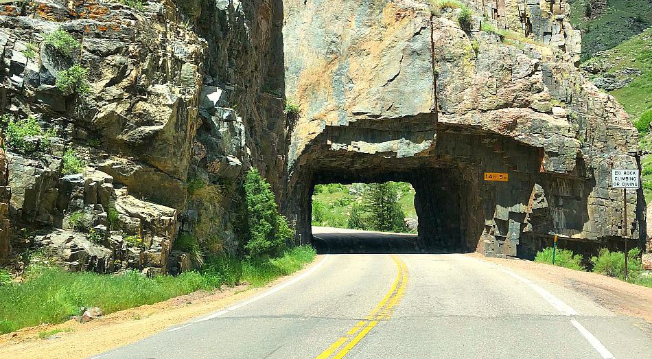 A picture of a tunnel through the poudre canyon in colorado