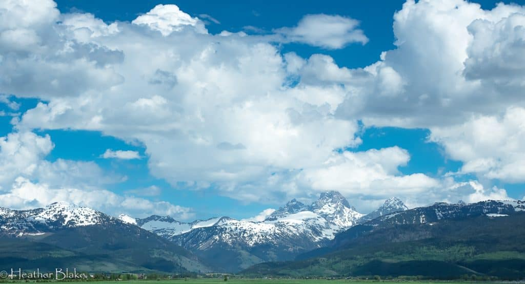 A picture of the Teton Mountains near Driggs, Idaho