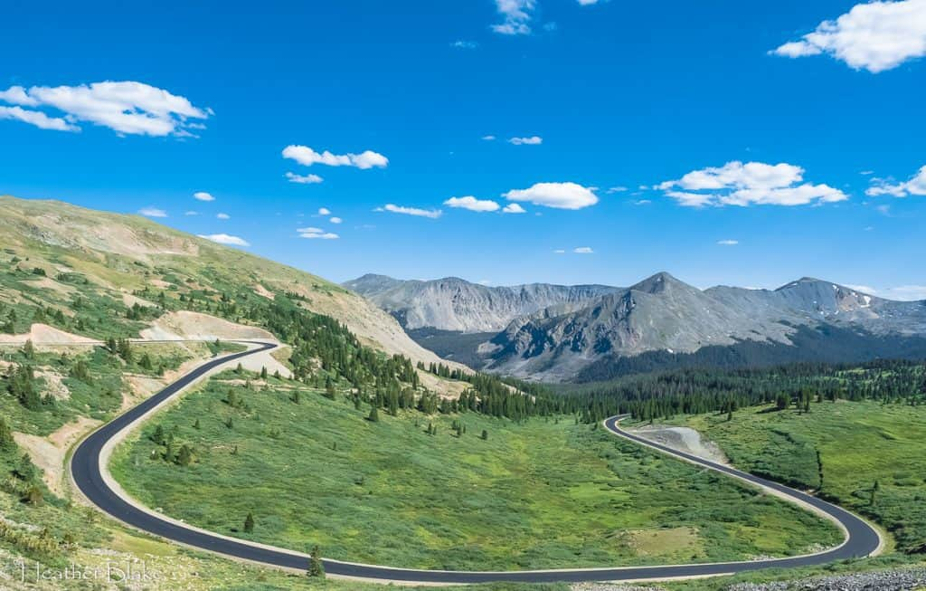 A picture of a curvy road on Cottonwood Pass,