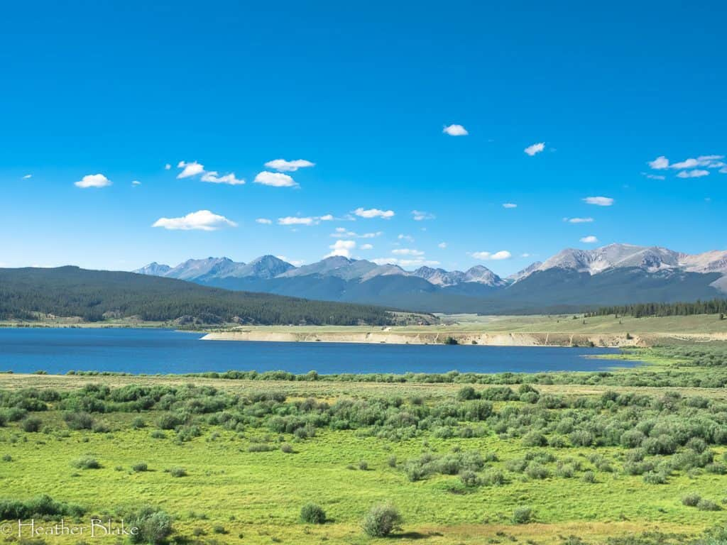 A picture of Taylor Reservoir and mountains in Colorado