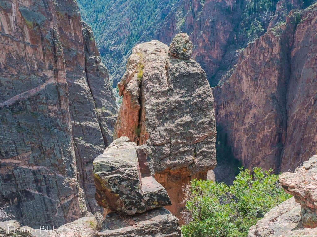 A picture of balanced rock in the Black Canyon of the Gunnison National Park