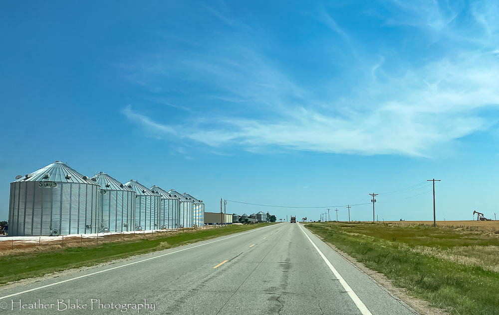 A picture of silos in Kansas. They are filled with wheat from the harvest.