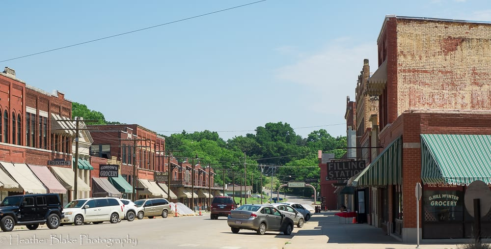 The movie set for Killers of the Flower Moon in Pawhuska, OK. It a picture looking down the street that is made to look like the 1920's.